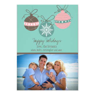 Christmas Ornaments Holiday Flat Card-teal 5x7 Paper Invitation Card
