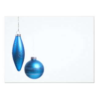 """Christmas Ornaments in Bright Teal Blue - Holiday 6.5"""" X 8.75"""" Invitation Card"""