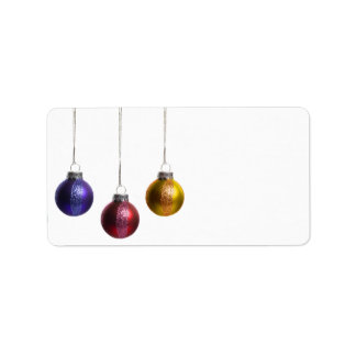Christmas Ornaments in Teal Purple Red Green Gold Label