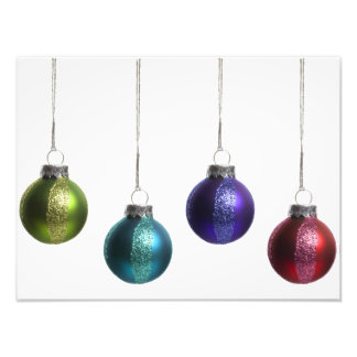 Christmas Ornaments in Teal Purple Red Green Gold Photo Print