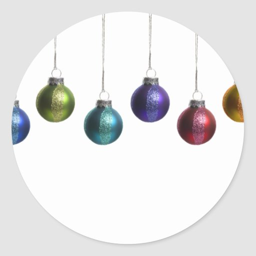 Christmas ornaments in teal purple red green gold stickers for Small gold christmas ornaments