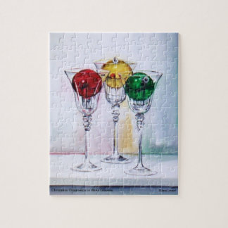 Christmas Ornaments in Wine Glasses Puzzle