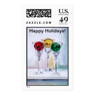 Christmas Ornaments in Wine Glasses Stamp No. 2