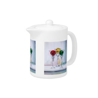 Christmas Ornaments in Wine Glasses Teapot