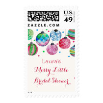 Christmas Ornaments Merry Little Bridal Shower Postage