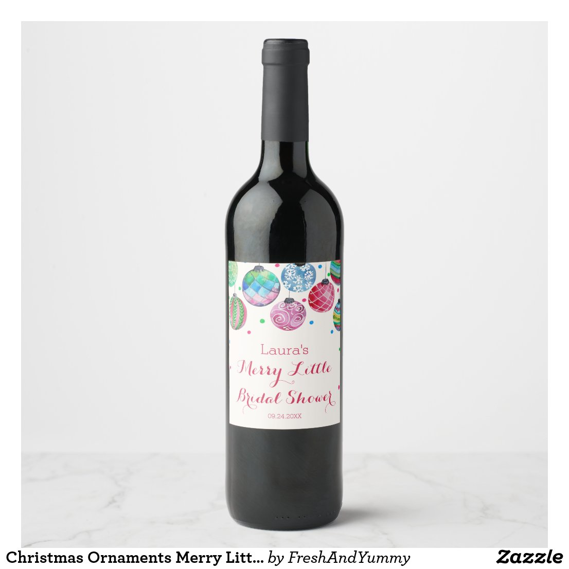 Christmas Ornaments Merry Little Bridal Shower Wine Label