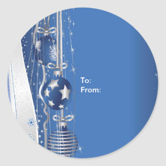 Christmas Ornaments On Blue Stickers-Gift Tags