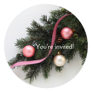 Christmas ornaments on greenery card