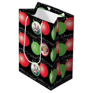Christmas Ornaments on Red & 6 Photo Frames Medium Gift Bag