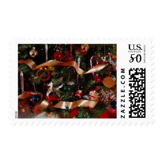 Christmas ornaments on tree postage