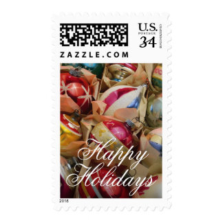 Christmas ornaments packed snugly postage stamp