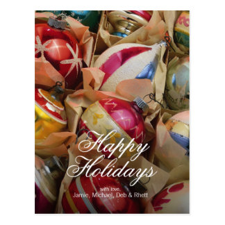 Christmas ornaments packed snugly postcard