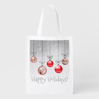 Christmas Ornaments Photo Template Red ID251 Reusable Grocery Bag
