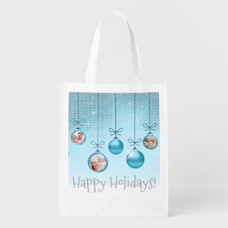Christmas Ornaments Photo Template Turquoise ID251 Reusable Grocery Bag