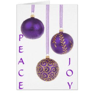 Christmas ornaments purple seasons greetings card