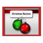 Christmas Ornaments Recipe Cards Postcard