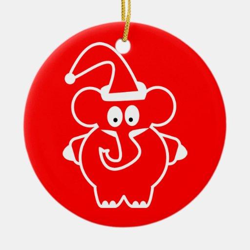 Christmas ornaments: Red Elephant Ceramic Ornament