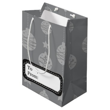 Professional Business Christmas ornaments silver grey pattern medium gift bag