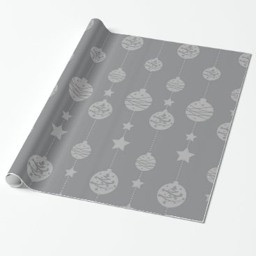 Professional Business Christmas ornaments silver grey pattern wrapping paper