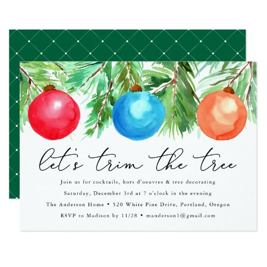 Christmas Ornaments | Tree Trimming Party Invitation