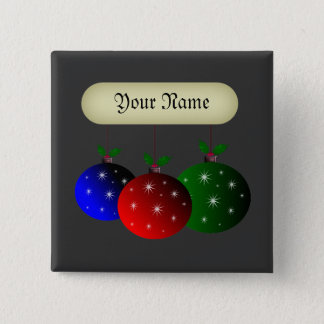 Christmas ornaments with snowflakes. Add your name Button