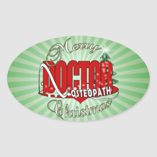 CHRISTMAS OSTEOPATH DOCTOR OVAL STICKER