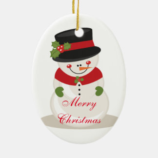 Christmas Oval Ornament/Snowman Ceramic Ornament