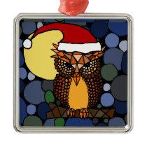 Christmas Owl Abstract Art Metal Ornament