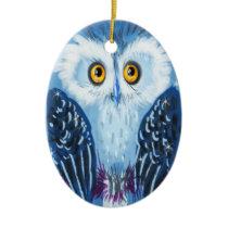 Christmas owl - Blue Ceramic Ornament