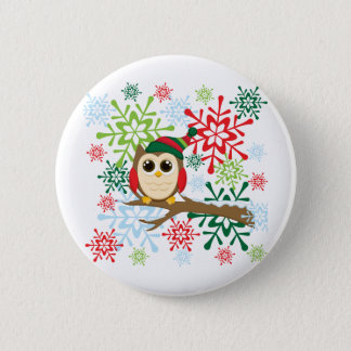 Christmas owl button