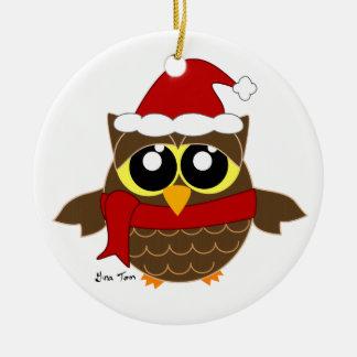 Christmas Owl Ceramic Ornament