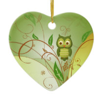 Christmas Owl Ceramic Ornament