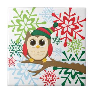 Christmas owl ceramic tile