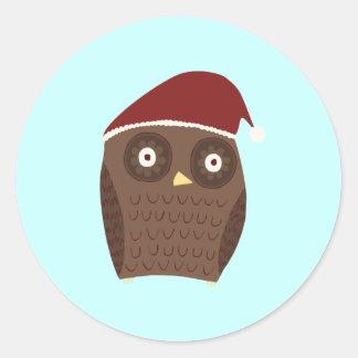 Christmas Owl Classic Round Sticker
