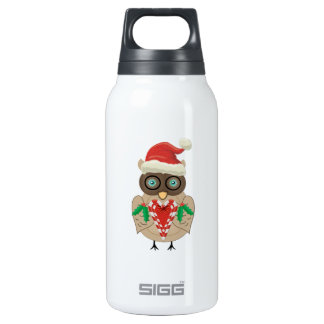 Christmas Owl (drawn by ©dollface766) 10 Oz Insulated SIGG Thermos Water Bottle