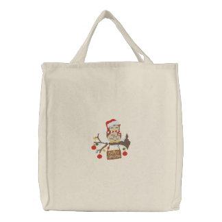 Christmas Owl Embroidered Tote Bag