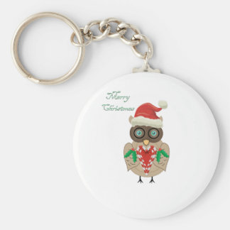Christmas Owl (hand drawn by ©Dollface766) Keychain