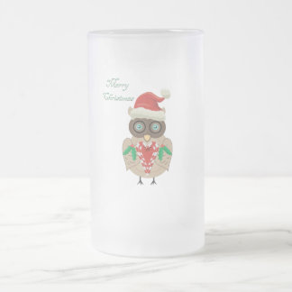 Christmas Owl (hand drawn by ©Dollface766) 16 Oz Frosted Glass Beer Mug