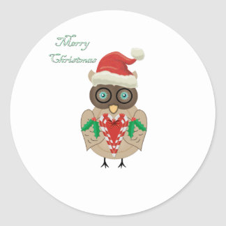Christmas Owl (hand drawn by ©Dollface766) Classic Round Sticker