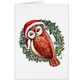 Christmas Owl in a Santa Hat Greeting Cards