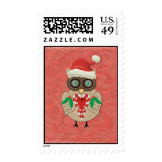 Christmas Owl in Red and Green Vector Art Postage