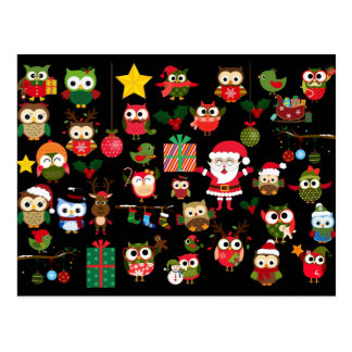 Christmas Owl Pattern Postcard