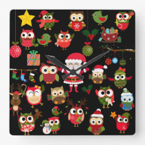 Christmas Owl Pattern Square Wall Clock