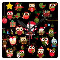 Christmas Owl Pattern Square Wallclock