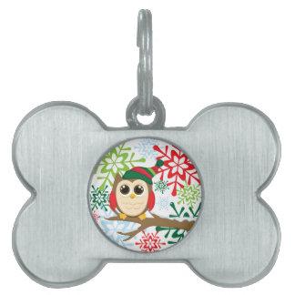 Christmas owl pet ID tag