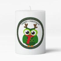 Christmas owl pillar candle