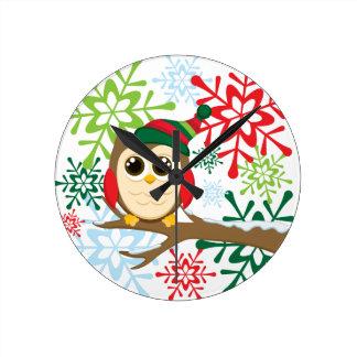 Christmas owl round clock