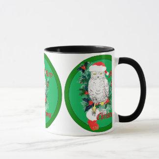 Christmas Owl Stocking and Holly Designed Mug