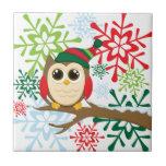 Christmas owl tiles