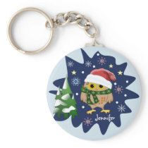 Christmas owl, trees, snowflakes and custom name keychain